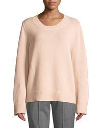 Michael Kors - Crewneck Long-sleeve Cashmere-cotton Sweater - Lyst