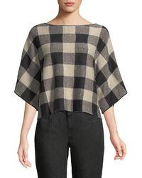 Eileen Fisher - 3/4-sleeve Linen Checkerboard Sweater - Lyst