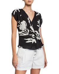 Joie - Bosko V-neck Cap-sleeve Twisted Silk Top - Lyst