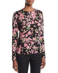 ESCADA - Round-neck Long-sleeve Floral-print Cardigan - Lyst