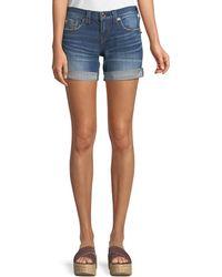 True Religion - Jayde Mid-rise Rolled-hem Denim Shorts With Flap Pockets - Lyst