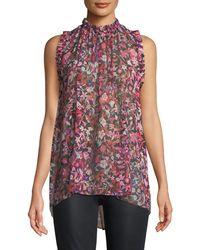 Elie Tahari - Lucy Floral-print Silk Blouse - Lyst