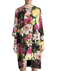 Naeem Khan - Floral-print 3/4-sleeve Coat Black - Lyst