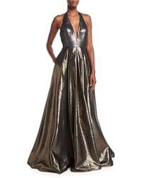 Jovani - Plunging Halter Sleeveless Metallic Evening Gown - Lyst