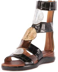 d25df1f26df Chloé - Croc-embossed Leather High Shaft Sandals - Lyst
