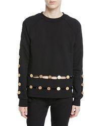 Balmain | Long-sleeve Crewneck Sweatshirt W/ Inset Coin Detail | Lyst