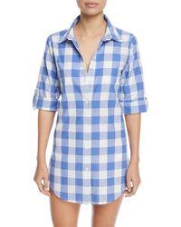 Nanette Lepore - Button-front Gingham Cotton Coverup Shirt - Lyst