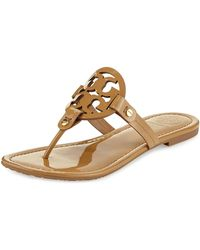 Tory Burch - Miller Medallion Patent Leather Flat Thong - Lyst