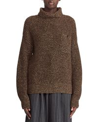 Ralph Lauren Collection - 50th Anniversary Turtleneck Cashmere/linen Mouline Sweater W/ Suede Elbow Patch - Lyst