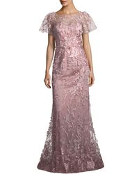 David Meister - Floral Short-sleeve Trumpet Gown - Lyst