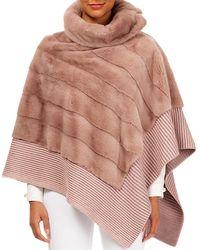 Gorski - Diagonal Mink-fur Poncho W/ Cashmere-silk Ribbed Hem - Lyst