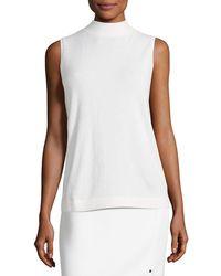 Lafayette 148 New York | Sleeveless Mock-neck Sequin-trim Cashmere Pullover | Lyst