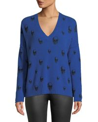 360sweater - Emmett V-neck Cashmere Sweater With Skull Print - Lyst
