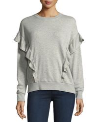 Joie - Ayana Crewneck Long-sleeve Sweater W/ Ruffled Frills - Lyst