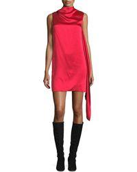 Helmut Lang | High-neck Sleeveless Draped Satin Shift Dress | Lyst