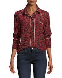 N°21 - Leopard-print Silk Button-front Blouse - Lyst