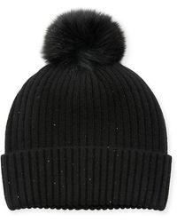 Sofia Cashmere - Sequin Knit Hat W/ Fur Pompom - Lyst