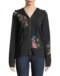 Johnny Was - Vernazza Embroidered Zip-front Hoodie Jacket - Lyst