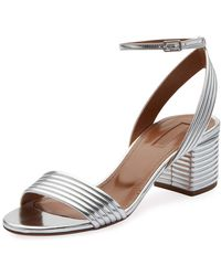7d9a4d9a095 Aquazzura - Sundance 50mm Metallic Leather Block-heel Sandals - Lyst