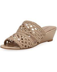 Donald J Pliner - Albi Woven Metallic-leather Demi-wedge Slide Sandals - Lyst