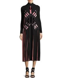 Valentino - Love Blade Pleated Long-sleeve Dress - Lyst