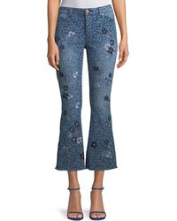 MICHAEL Michael Kors - Floral-print Cropped Bell-bottom Jeans - Lyst