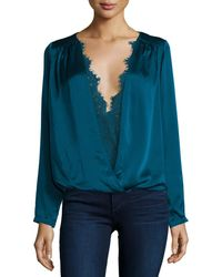 Tryb - Maris Surplice Lace-trim Top - Lyst
