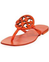 Tory Burch - Miller Square-toe Flat Slide Sandals - Lyst