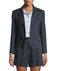 10 Crosby Derek Lam - Two-button Striped Cropped Blazer - Lyst