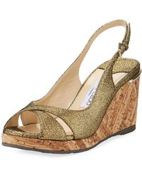 Jimmy Choo - Amely 80mm Crackled Leather Cork Wedge Sandal - Lyst