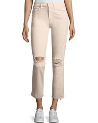 Mother - High-waist Straight-leg Distressed Ankle Jeans - Lyst
