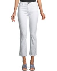 7 For All Mankind - Straight-leg Cropped Jeans With Raw Hem - Lyst
