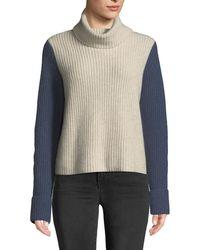 Autumn Cashmere - Cuffed Colorblock Turtleneck Cashmere Sweater - Lyst