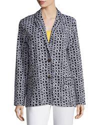 Joan Vass - Geometric Jacquard Interlock Jacket - Lyst