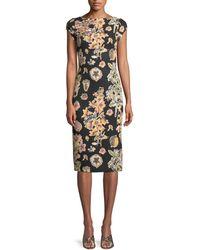 THEIA - Short-sleeve Floral Decoupage Scuba Cocktail Dress - Lyst