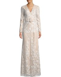 Badgley Mischka - Embroidered Long-sleeve Belted Gown - Lyst