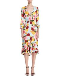 Naeem Khan - Deep-v Long-sleeve Floral-print Midi Dress - Lyst