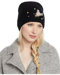 ac2c5145133 Lyst - Jennifer Behr Embellished Alpaca Veiled Beanie in Black