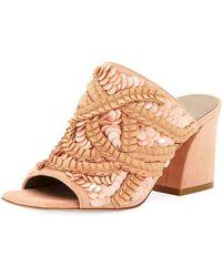 Donald J Pliner - Wynne Sequin Ornamented Slide Sandals - Lyst