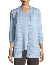Misook | Textured 3/4-sleeve Hook-front Knit Jacket | Lyst