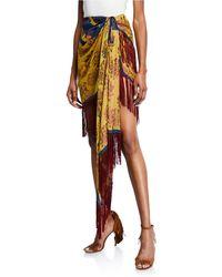 Oscar de la Renta - Fringe-trim Wrap-front Tulip Skirt - Lyst
