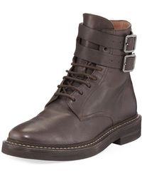 Brunello Cucinelli - Buckle-strap Leather Hiking Boot - Lyst