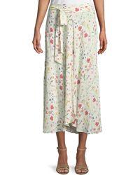 Velvet - Swan Floral-print Midi Skirt - Lyst