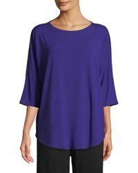 Eileen Fisher - 3/4-sleeve Bateau-neck Jersey Top - Lyst