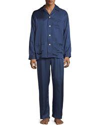 Derek Rose - Bengal-stripe Silk Satin Pajamas - Lyst