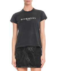 Givenchy - Paris Short-sleeve Destroyed Logo Cotton T-shirt - Lyst