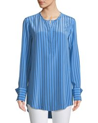 6379eee86b785c Equipment - Windsor Striped Silk Blouse - Lyst