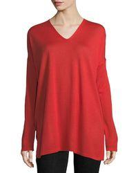 Eileen Fisher - Ultrafine Merino V-neck Tunic - Lyst
