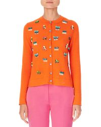 Carolina Herrera - Animal-embroidered Cashmere-silk Cardigan - Lyst