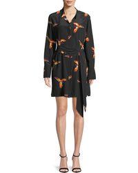 Diane von Furstenberg - Long-sleeve Silk Floral Shirtdress - Lyst